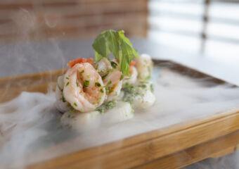 Marinated shrimp, scallop with Chinese toona Grand Hyatt Macau
