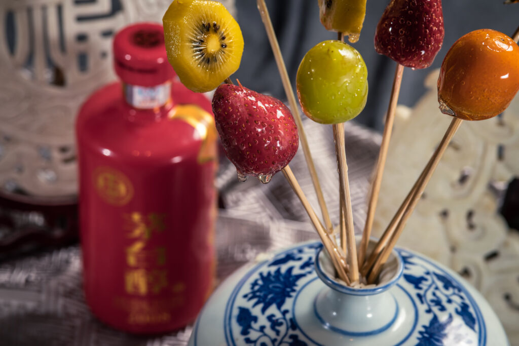 Chinese wine and dine at artyzen grand lapa macau fruit skewers