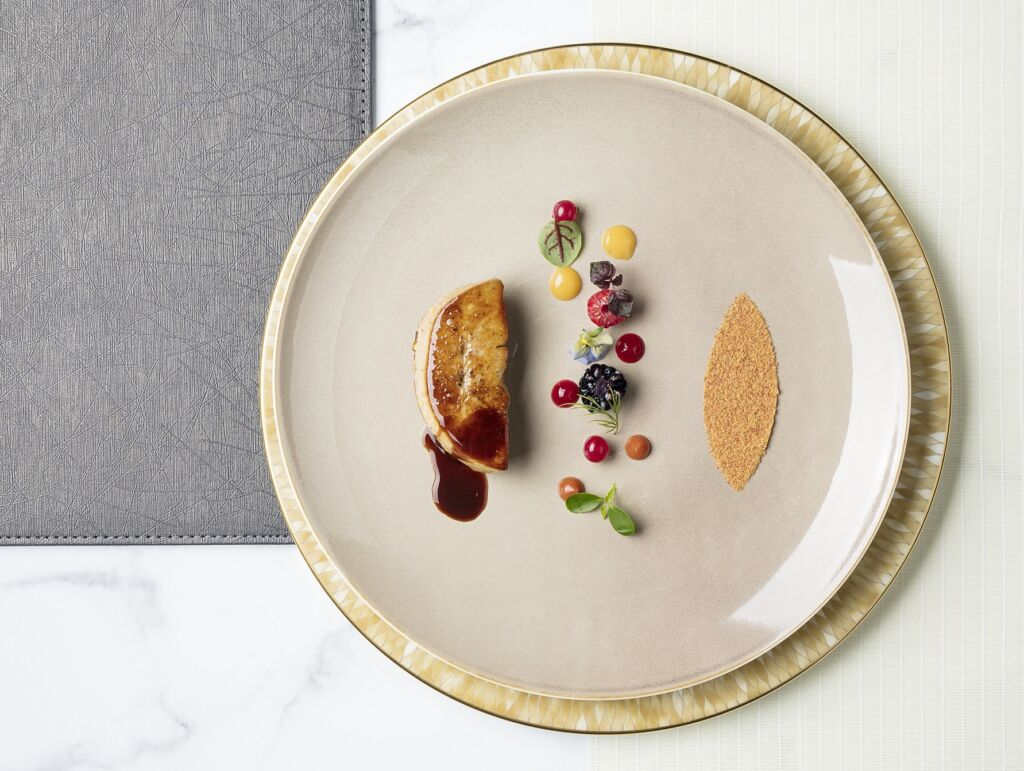 GEORGE BRUCK FOIE GRAS pan seared, red berry and Japanese kinako The Manor A La Carte Menu
