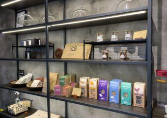 Macau Museum Cafe shelves with teas and coffee beans