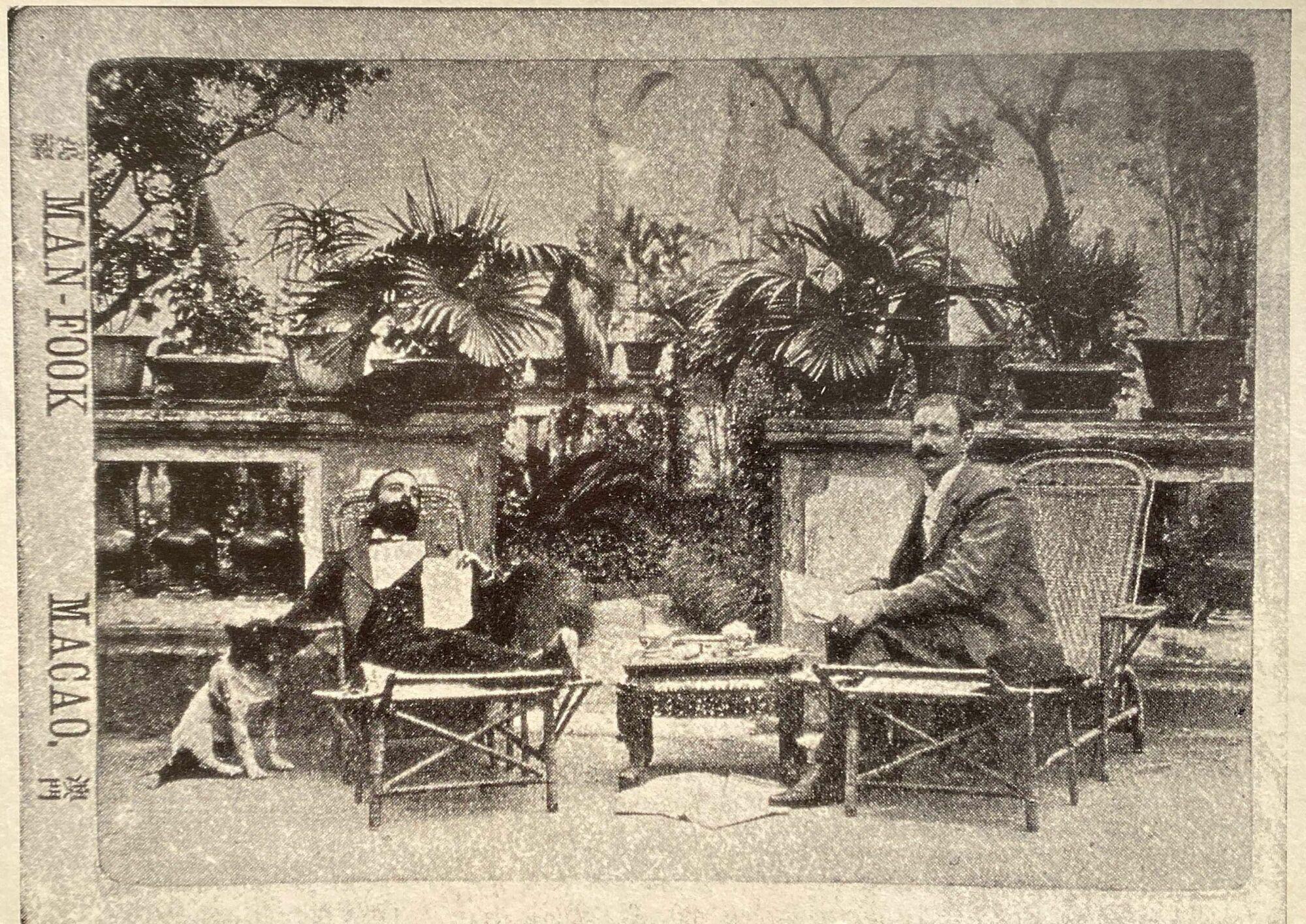 Camilo Pessanha with his Dog Arminho and Friend Joao Pereira Vasco Source and Credits Instituto Portugues do Oriente Macau 1990
