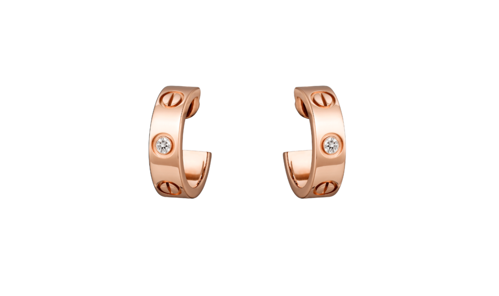Cartier LOVE earrings 18k pink gold diamonds mothers day gift