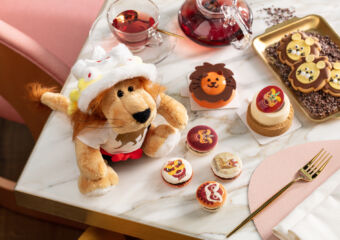 Lion pastries top shot with lion plushie MGM Cotai Anytime Afternoon Tea