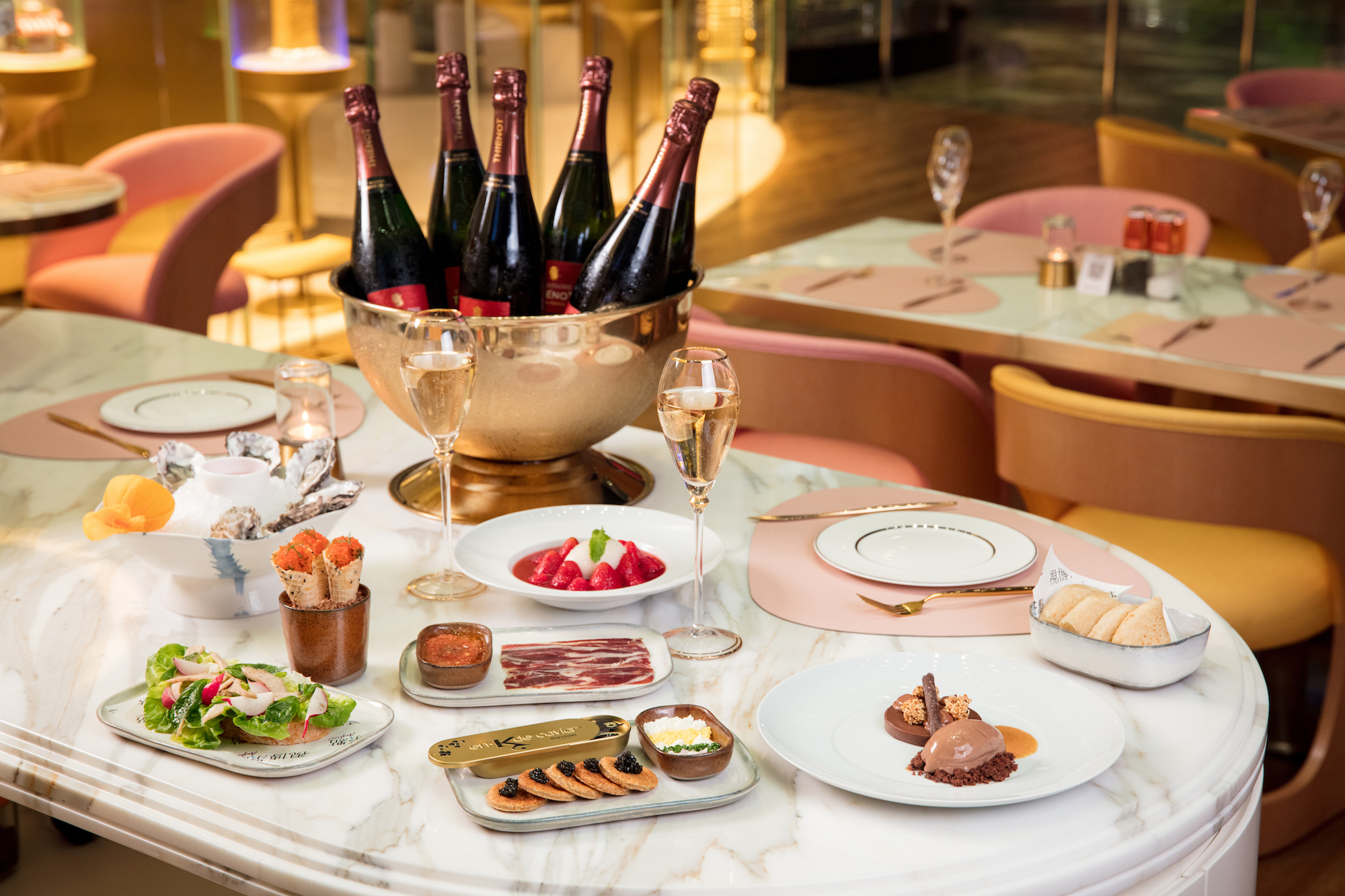 Saturday Champagne Night at Anytime MGM Cotai Horizontal Photo with Food on the Table