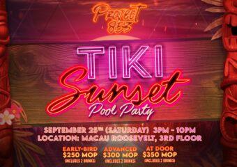 Tiki Sunset Pool Party Poster