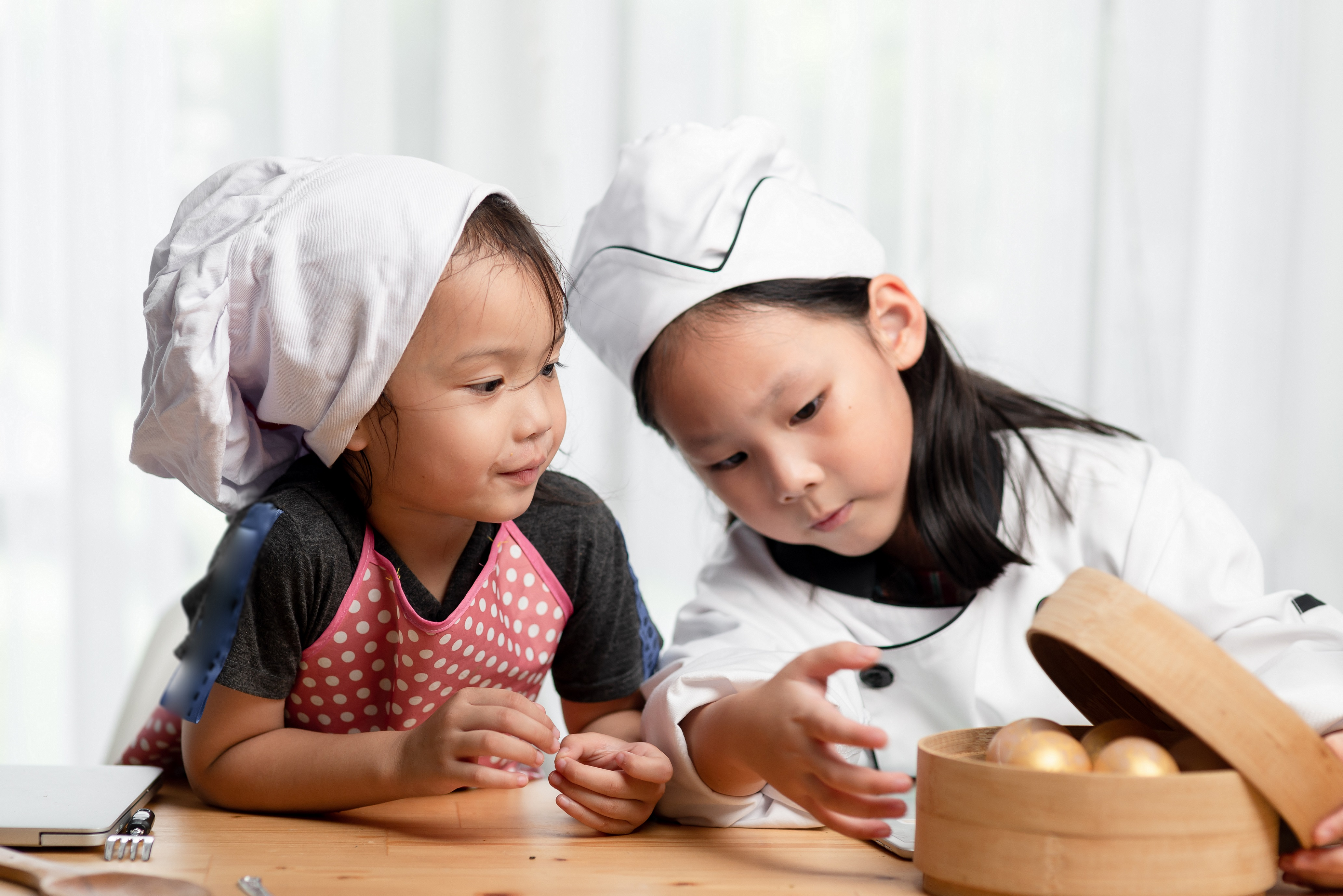 Happy,Asian,Kids,Playing,Chef,Together,At,Home,,Children,Lifestyle
